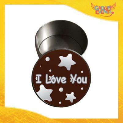 """Scatola in Metallo Tonda """"I Love You Stelle"""" Personalizzata per San Valentino Idea Regalo Porta Regali per Innamorati Gadget Eventi"""