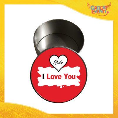 """Scatola in Metallo Tonda """"I Love You con Foto Barretta"""" Personalizzata per San Valentino Idea Regalo Porta Regali per Innamorati Gadget Eventi"""