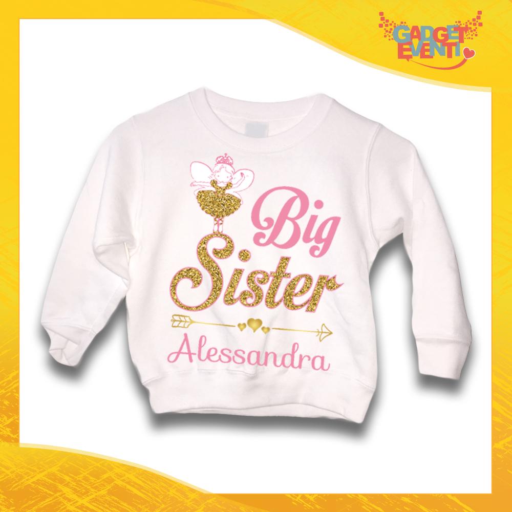"Felpa Bianca Femminuccia Bimba Baby Sorellina ""Big Sister"" Idea Regalo Gadget Eventi"