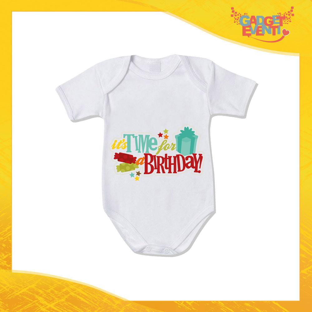 """Body Manica Corta """"Time For Birthday"""" Bodino per Bimbi Idea Regalo per Feste di Compleanno Bambini Gadget Eventi"""