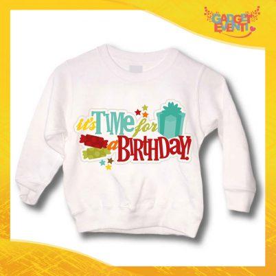 """Felpa Bimbo per Compleanni Bianca """"Time For Birthday"""" Girocollo Idea Regalo per Feste di Compleanno Bambini Gadget Eventi"""