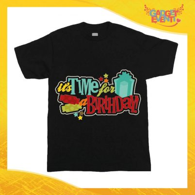 """T-Shirt Bimbo per Compleanni Nera """"Time For Birthday"""" Maglietta per Bambini Idea Regalo per Feste di Compleanno Gadget Eventi"""