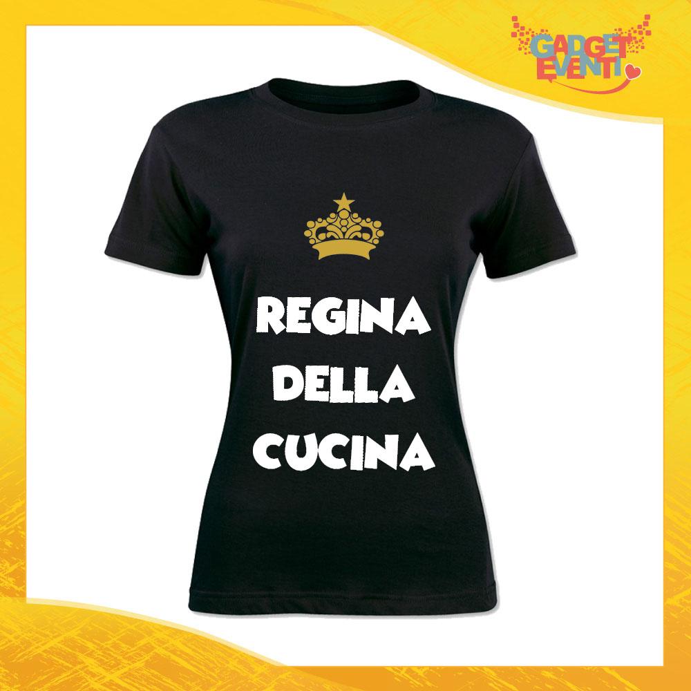 """T-Shirt Donna Nera """"Regina della Cucina"""" Maglietta Idea Regalo Maglia per Cuochi Gadget Eventi"""