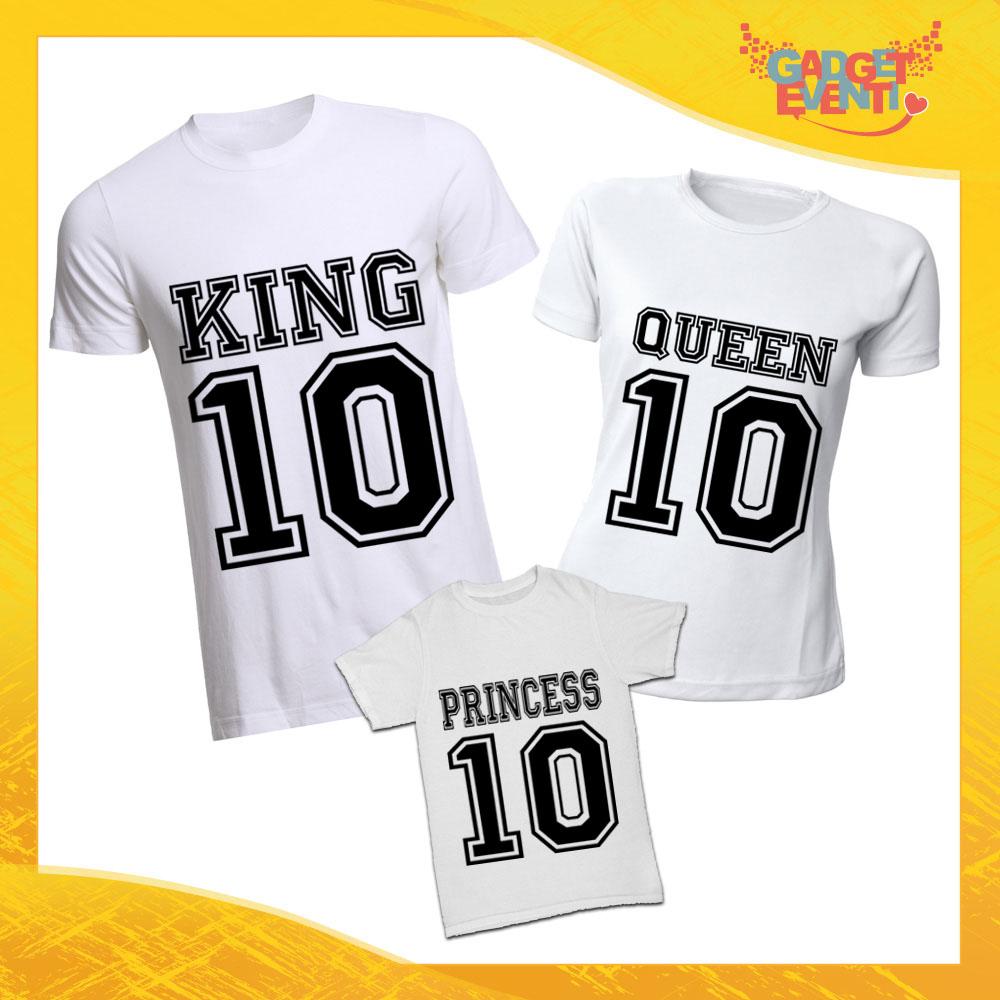 """Tris di T-Shirt Bianche """"Famiglia Reale con Numero"""" Magliette per Tutta la Famiglia Completo di Maglie Padre Madre Figli Idea Regalo Gadget Eventi"""