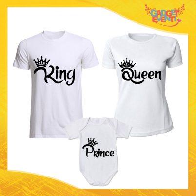 """Tris di T-Shirt Bianche con Body """"Famiglia Reale Corona"""" Magliette per Tutta la Famiglia Completo di Maglie Padre Madre Figli Idea Regalo Gadget Eventi"""