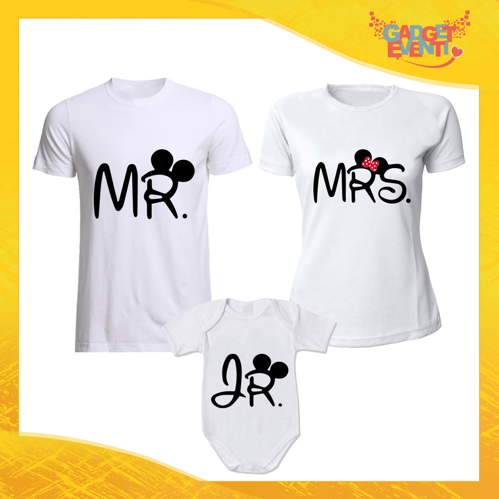 """Tris di T-Shirt Bianche con Body """"Mr Mrs Junior"""" Magliette per Tutta la Famiglia Completo di Maglie Padre Madre Figli Idea Regalo Gadget Eventi"""