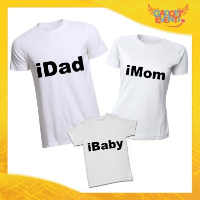 """Tris di T-Shirt bianche """"iFamily"""" Magliette per Tutta la Famiglia Completo di Maglie Padre Madre Figli Idea Regalo Gadget Eventi"""