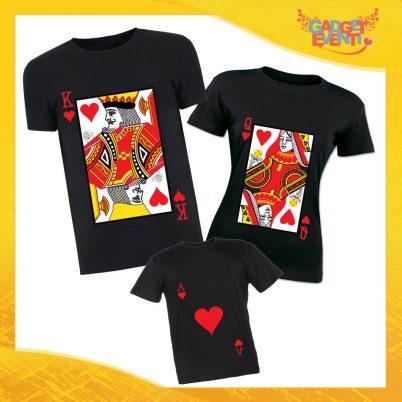 """Tris di T-Shirt Nere """"Carte da Ramino"""" Magliette per Tutta la Famiglia Completo di Maglie Padre Madre Figli Idea Regalo Gadget Eventi"""