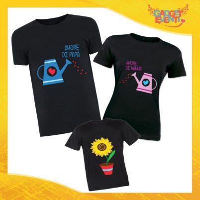 """Tris di T-Shirt Nere """"Doppio Amore"""" Magliette per Tutta la Famiglia Completo di Maglie Padre Madre Figli Idea Regalo Gadget Eventi"""