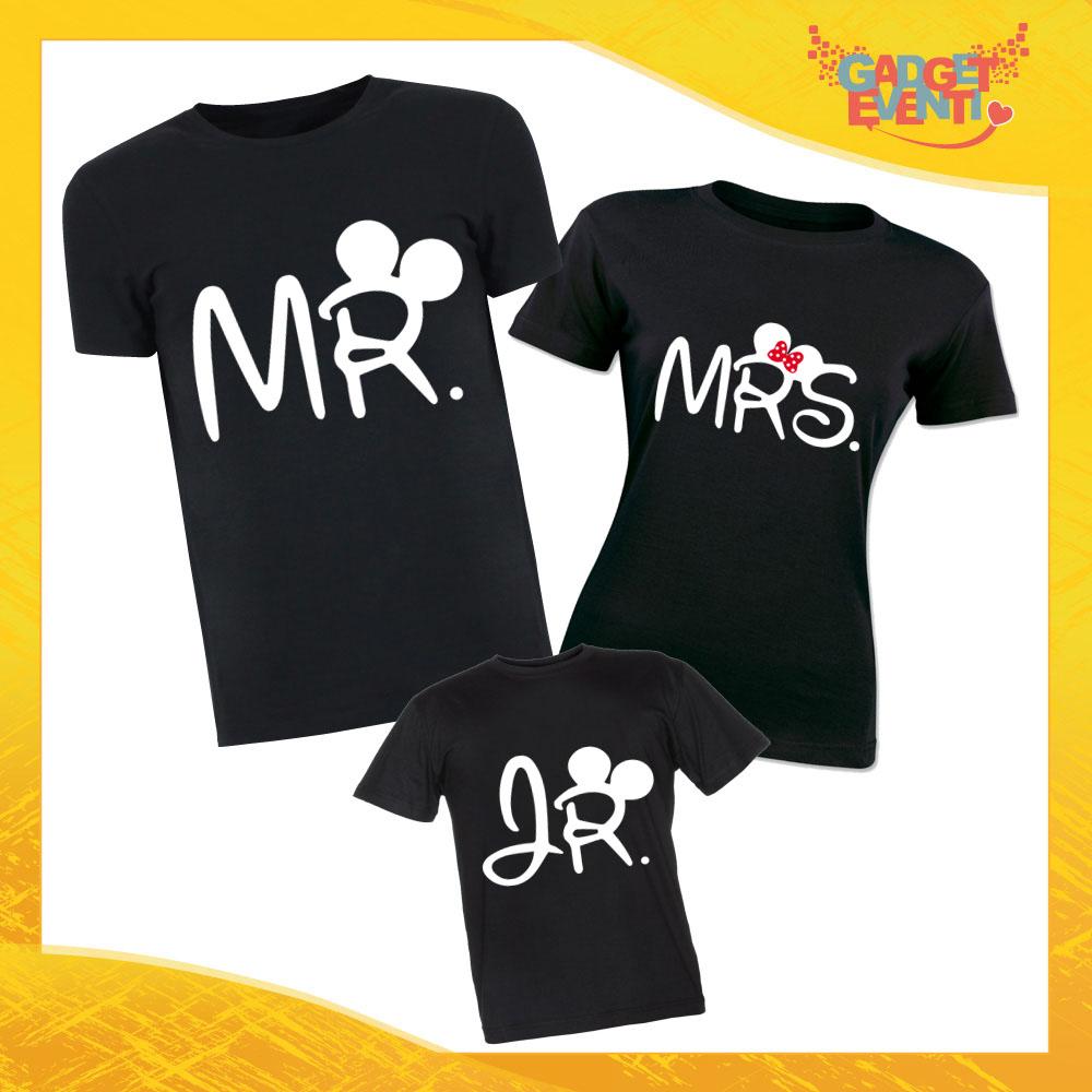 """Tris di T-Shirt Nere """"Mr Mrs Junior"""" Magliette per Tutta la Famiglia Completo di Maglie Padre Madre Figli Idea Regalo Gadget Eventi"""
