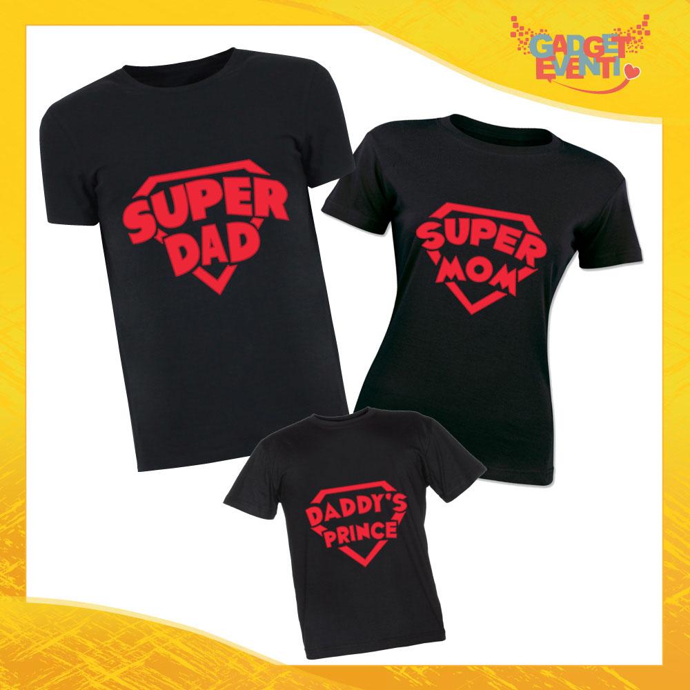 """Tris di T-Shirt Nere """"Super Famiglia"""" Magliette per Tutta la Famiglia Completo di Maglie Padre Madre Figli Idea Regalo Gadget Eventi"""