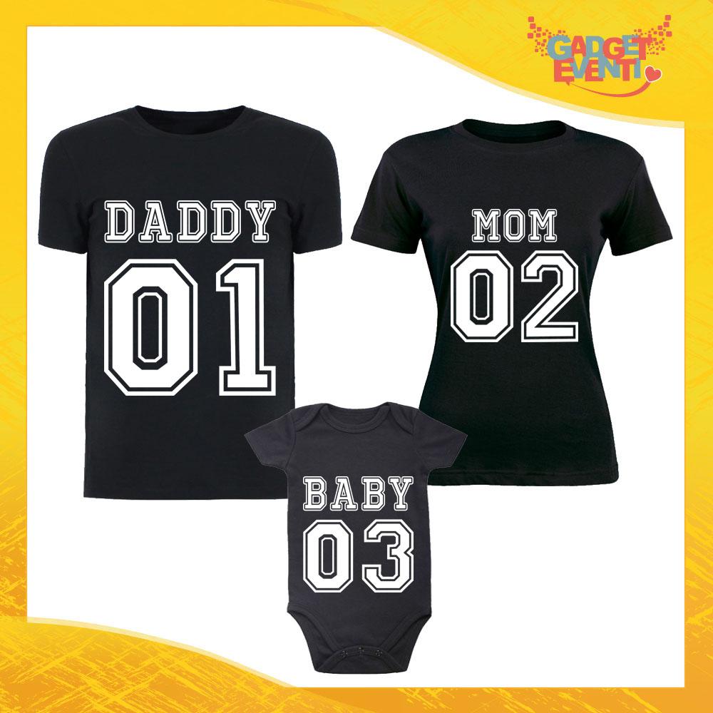 """Tris di T-Shirt Nere con Body """"Daddy Mom Baby"""" Magliette per Tutta la Famiglia Completo di Maglie Padre Madre Figli Idea Regalo Gadget Eventi"""