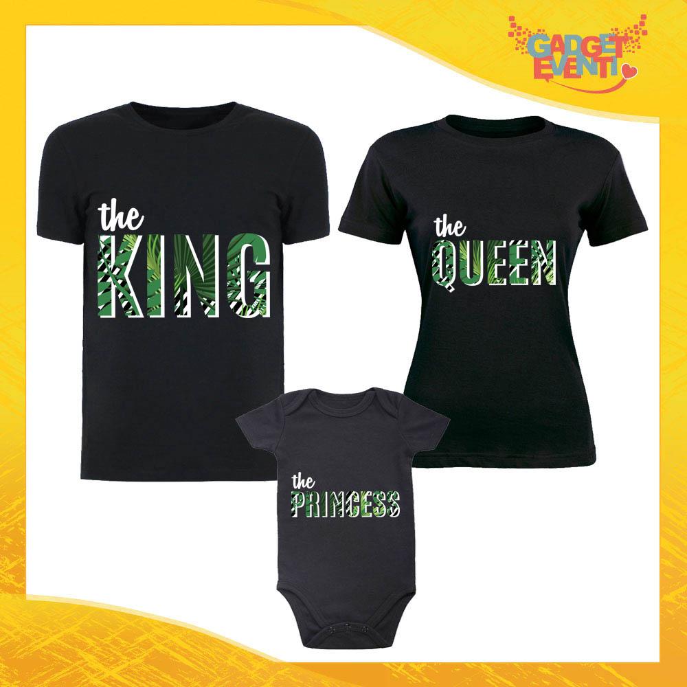 """Tris di T-Shirt Nere con Body """"Famiglia Nella Giungla"""" Magliette per Tutta la Famiglia Completo di Maglie Padre Madre Figli Idea Regalo Gadget Eventi"""