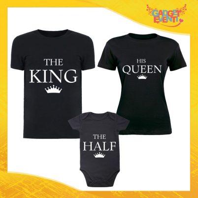 """Tris di T-Shirt Nere con Body """"Famiglia Reale"""" Magliette per Tutta la Famiglia Completo di Maglie Padre Madre Figli Idea Regalo Gadget Eventi"""