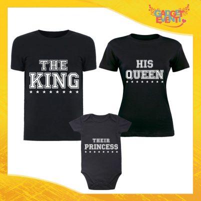 """Tris di T-Shirt Nere con Body """"Famiglia Reale con Stella"""" Magliette per Tutta la Famiglia Completo di Maglie Padre Madre Figli Idea Regalo Gadget Eventi"""