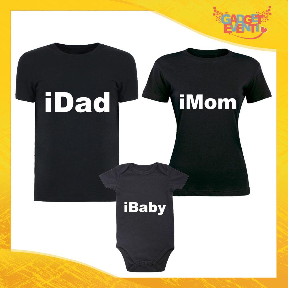 """Tris di T-Shirt Nere con Body """"iFamily"""" Magliette per Tutta la Famiglia Completo di Maglie Padre Madre Figli Idea Regalo Gadget Eventi"""