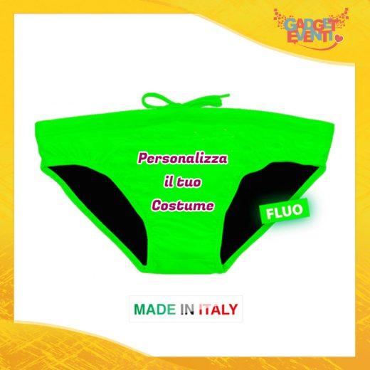 Costume da Uomo Verde Fluo Personalizzato Slip Maschile Articolo Estivo Linea Mare Gadget Eventi