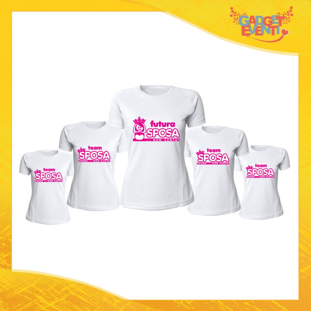 """Pacchetto T-Shirt Donna Bianche con Grafica Standard """"Donne Non Sante"""" Magliette Femminili per Addio al Nubilato Feste e Party Esclusivi Gadget Eventi"""