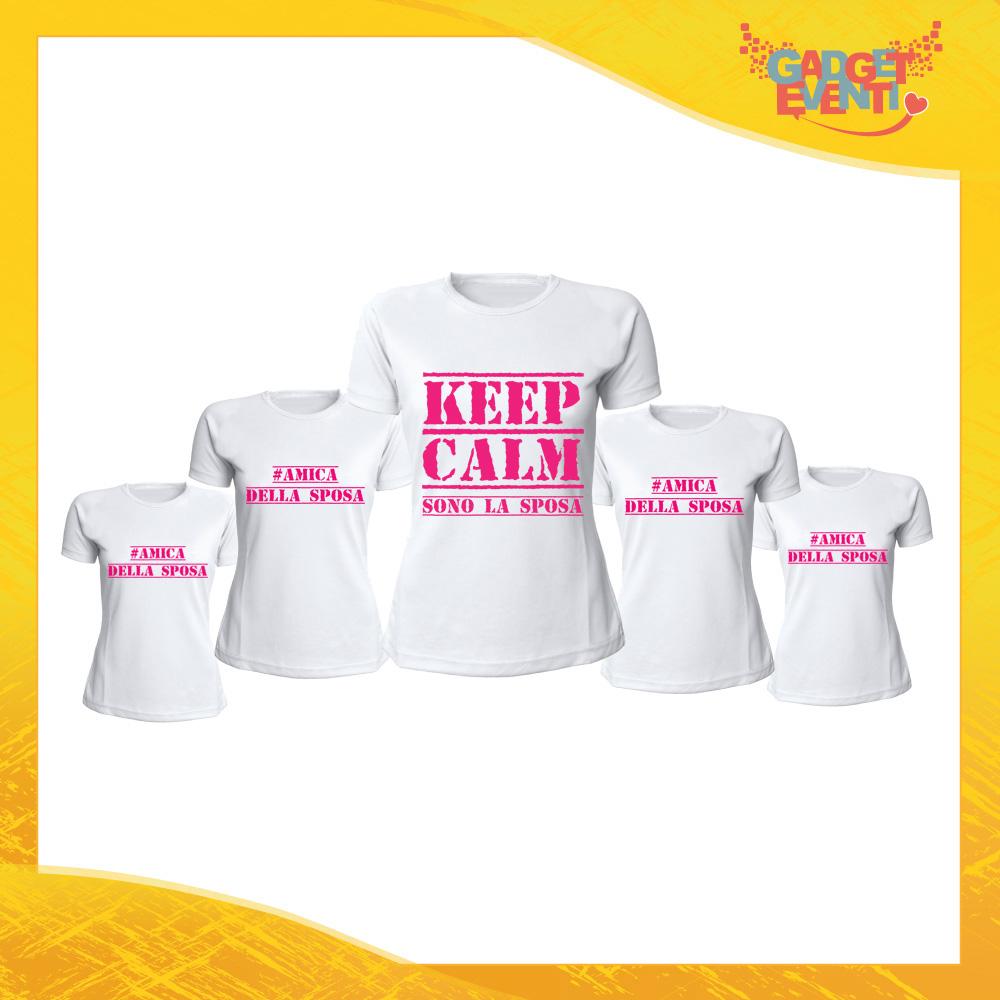 """Pacchetto T-Shirt Donna Bianche con Grafica Standard """"Keep Calm Sposa + Amiche"""" Magliette Femminili per Addio al Nubilato Feste e Party Esclusivi Gadget Eventi"""
