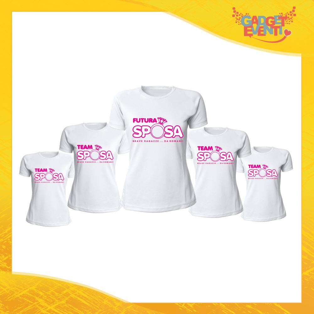 """Pacchetto T-Shirt Donna Bianche con Grafica Standard """"Team Sposa Anello"""" Magliette Femminili per Addio al Nubilato Feste e Party Esclusivi Gadget Eventi"""