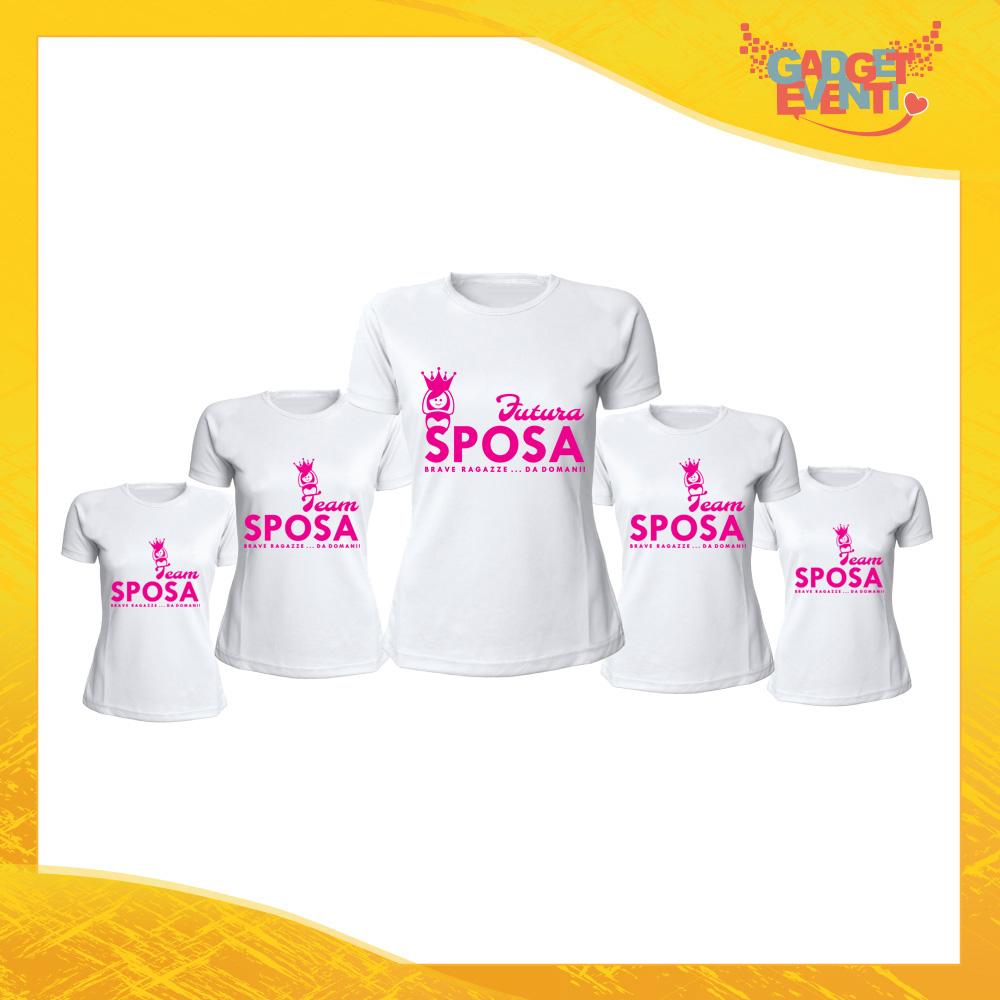 """Pacchetto T-Shirt Donna Bianche con Grafica Standard """"Team Sposa Corona"""" Magliette Femminili per Addio al Nubilato Feste e Party Esclusivi Gadget Eventi"""