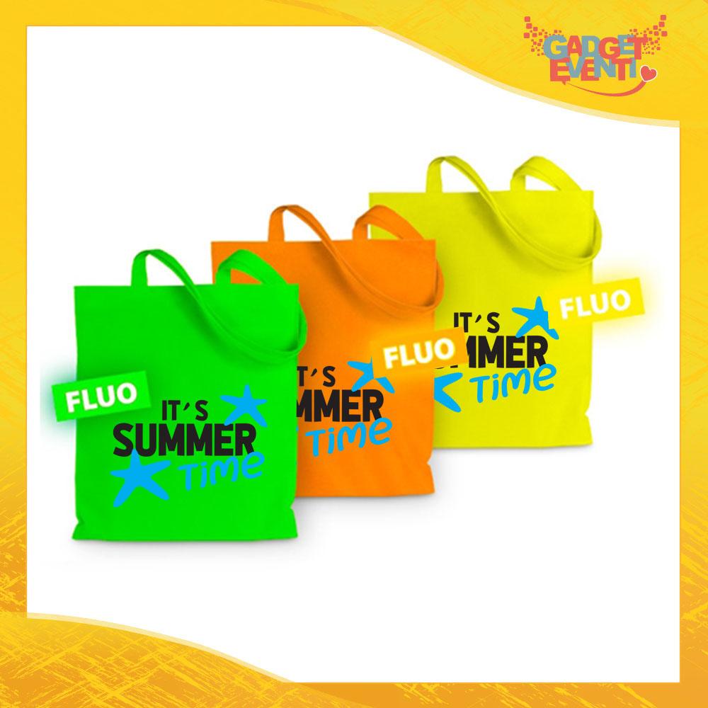 """Borsa Shopper Personalizzata """"It's Summer Time"""" Busta in Poliestere con manici lunghi Articolo Estivo Linea Mare Gadget Eventi"""