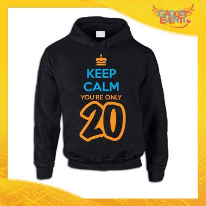 """Felpa Nera """"Keep Calm Twenty"""" Grafica Arancio Maglia Birthday per Feste di Compleanno Idea Regalo per Compleanni Gadget Eventi"""