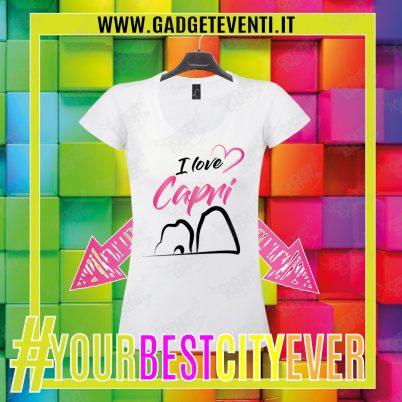 """T-Shirt Donna Bianca """"I Love Capri"""" Maglietta Estiva della tua Città Idea regalo gadget Eventi"""