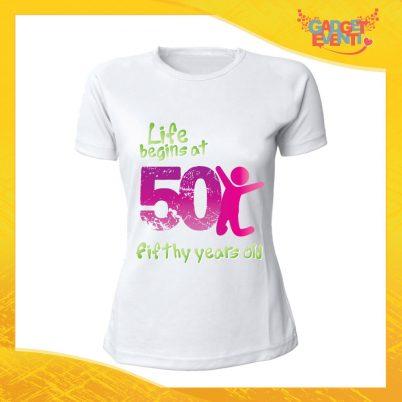 """T-Shirt Donna Bianca """"Life Begin"""" Maglietta Femminile Birthday per Feste di Compleanno Idea Regalo per Compleanni Gadget Eventi"""