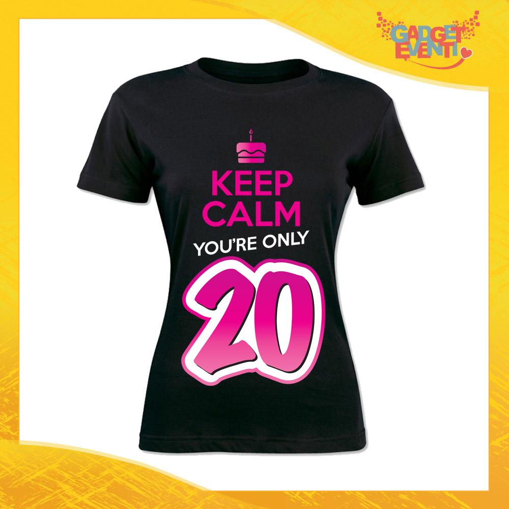 """T-Shirt Donna Nera """"Keep Calm Twenty"""" Grafica Fucsia Maglietta Femminile Birthday per Feste di Compleanno Idea Regalo per Compleanni Gadget Eventi"""