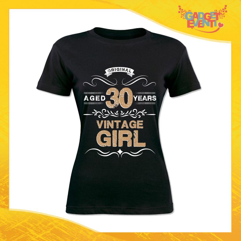 """T-Shirt Donna Nera """"Vintage Girl"""" Maglietta Femminile Birthday per Feste di Compleanno Idea Regalo per Compleanni Gadget Eventi"""