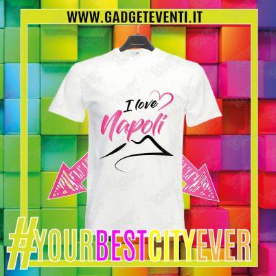 """T-Shirt Uomo Bianca """"I Love Napoli"""" Maglietta Estiva della tua Città Idea regalo gadget Eventi"""