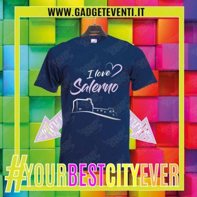 """T-Shirt Uomo Blu Navy """"I Love Salerno"""" Maglietta Estiva della tua Città Idea regalo gadget Eventi"""