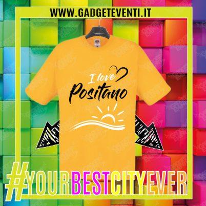 """T-Shirt Uomo Gialla """"I Love Positano"""" Maglietta Estiva della tua Città Idea regalo gadget Eventi"""