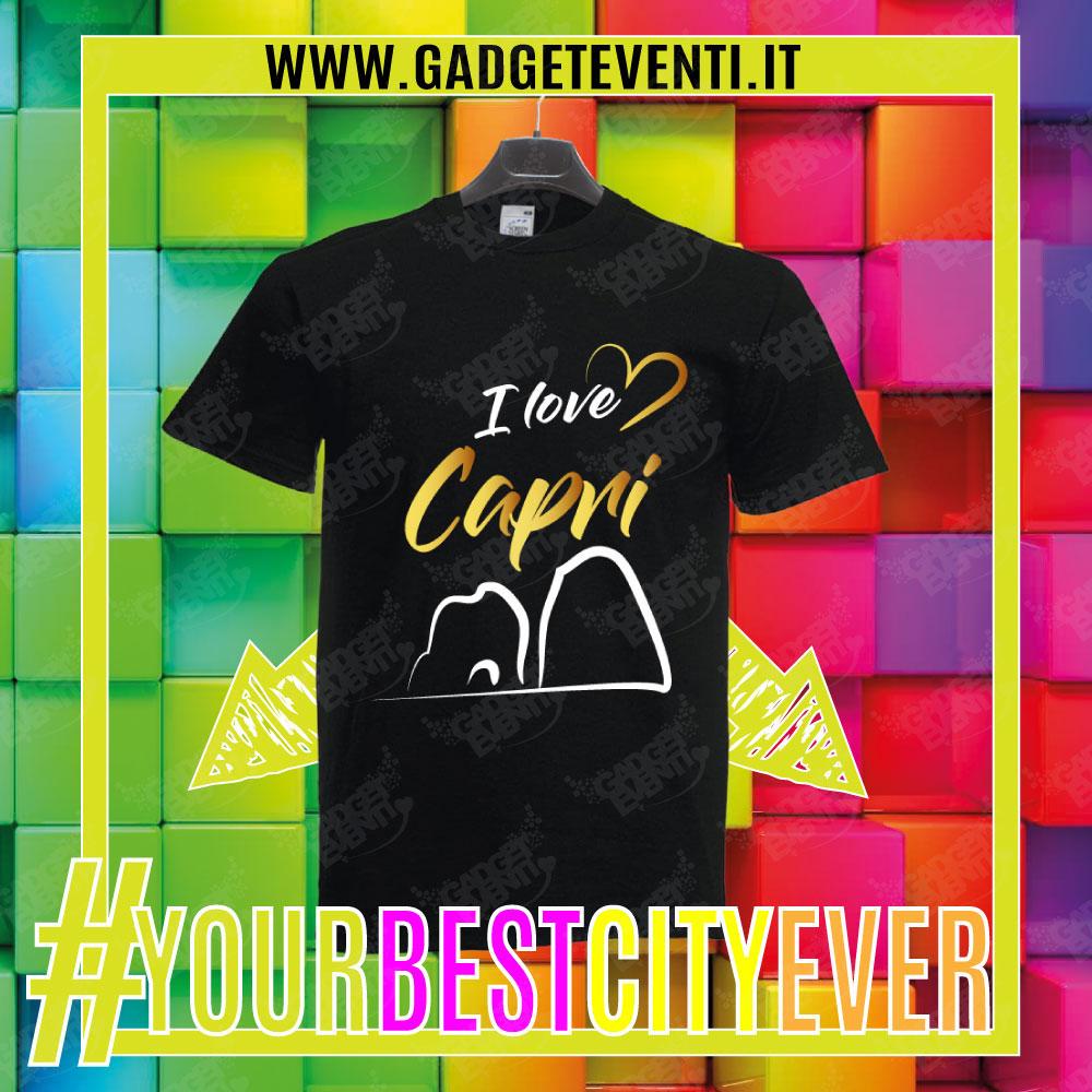 """T-Shirt Uomo Nera """"I Love Capri"""" Maglietta Estiva della tua Città Idea regalo gadget Eventi"""