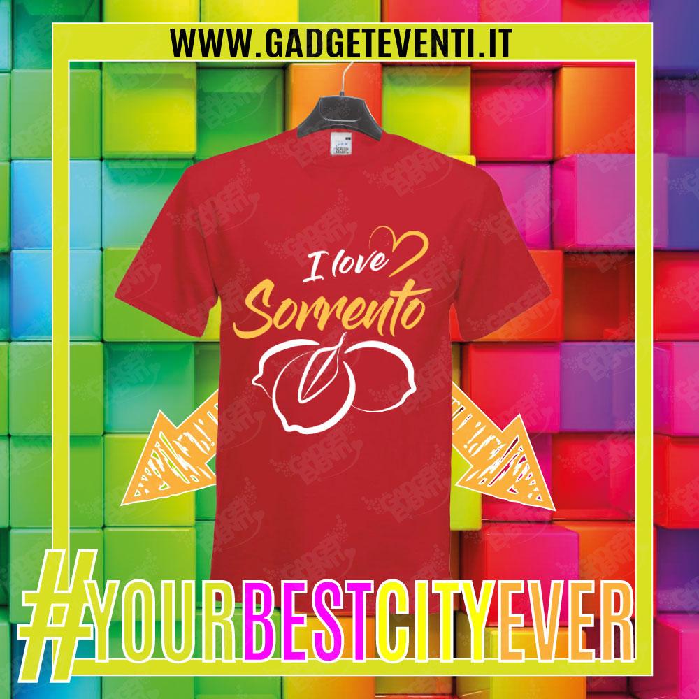"""T-Shirt Uomo Rossa """"I Love Sorrento"""" Maglietta Estiva della tua Città Idea regalo gadget Eventi"""