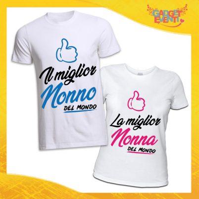 COPPIA TSHIRT NONNI IL/LQA MIGLIOR NONNO/A DEL MONDO BIANCO
