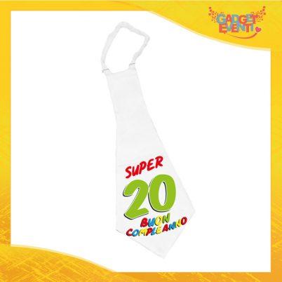 """Maxi Cravatta Personalizzata """"Super Birthday Ventesimo"""" Cravattone Originale Idea Regalo per Festa di Compleanno Gadget Eventi"""