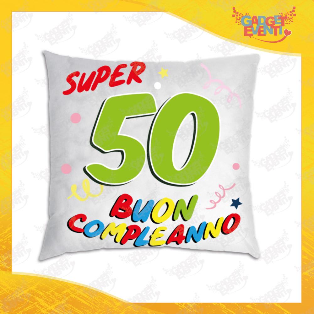 """Cuscino Quadrato Divano Letto Poltrona """"Super Birthday Cinquantesimo"""" Idea Regalo per Compleanni Gadget Eventi"""