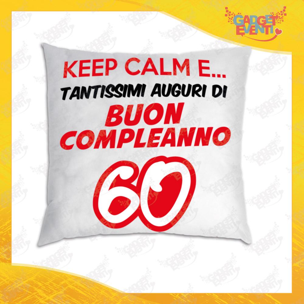 """Cuscino Quadrato Divano Letto Poltrona """"Keep Calm Sessantesimo"""" Idea Regalo per Compleanni Gadget Eventi"""