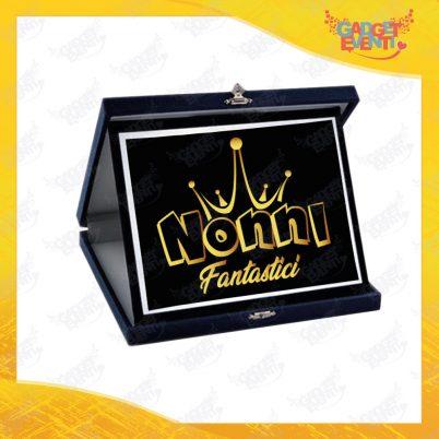 """Targa Decorativa Nera """"Nonni Fantastici"""" grafica oro Idea Regalo Festa dei Nonni Gadget Eventi"""