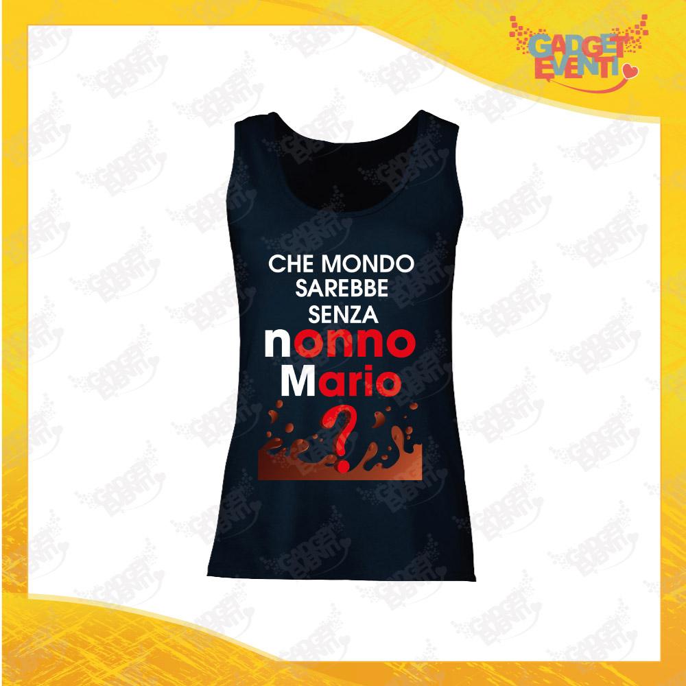 """Canotta Donna Nera Grafica """"Che Mondo Senza Nonno/a con Nome"""" Top Maglietta per l'estate Smanicato Festa dei Nonni Gadget Eventi"""
