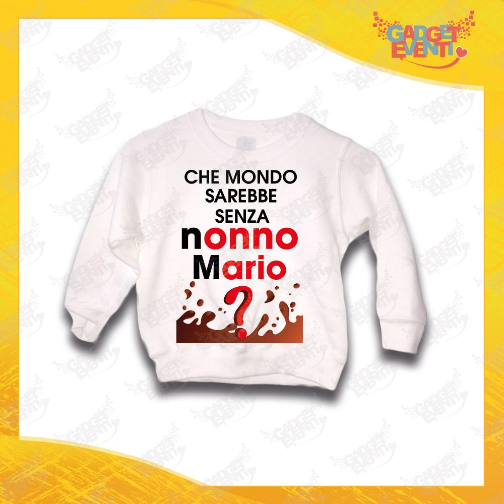 """Felpa Bianca Bimbo """"Che Mondo Senza Nonno/a con Nome"""" Grafica Uomo Idea Regalo Maglione per l'inverno Festa dei Nonni Gadget Eventi"""