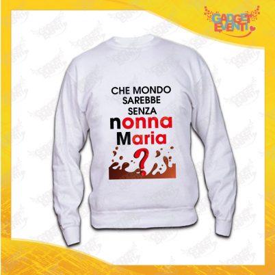 """Felpa Donna Bianca Girocollo """"Che Mondo Senza Nonno/a"""" Idea Regalo Maglione Festa dei Nonni Gadget Eventi"""