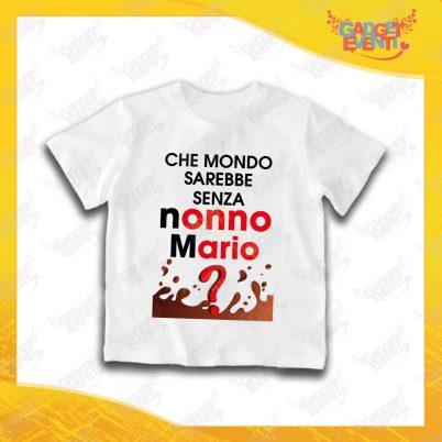 """Maglietta Bianca Bimbo """"Che Mondo senza Nonno/a con Nome"""" Grafica Uomo Idea Regalo T-Shirt Festa dei Nonni Gadget Eventi"""