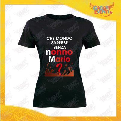 """Maglietta Donna Nera """"Che Mondo senza Nonno/a con nome"""" Grafica Uomo Idea Regalo Nonni T-Shirt Festa dei Nonni Gadget Eventi"""