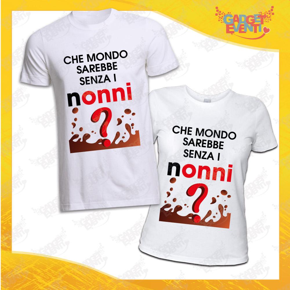 """Coppia Maglietta Uomo Donna Bianca """"Che Mondo Sarebbe senza Nonni"""" Idea Regalo T-Shirt Festa dei Nonni Gadget Eventi"""