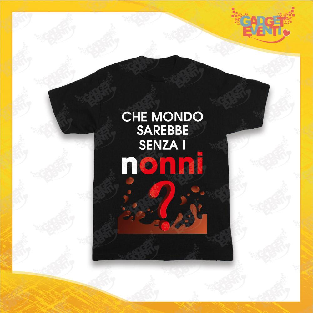 """Maglietta Nera Bimbo """"Che Mondo senza Nonni"""" Idea Regalo T-Shirt Festa dei Nonni Gadget Eventi"""