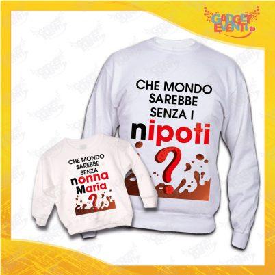 """Coppia di Felpe Bianco """"Che Mondo Sarebbe Senza Nonni"""" Nonna Nipote Idea Regalo Festa dei Nonni Gadget Eventi"""