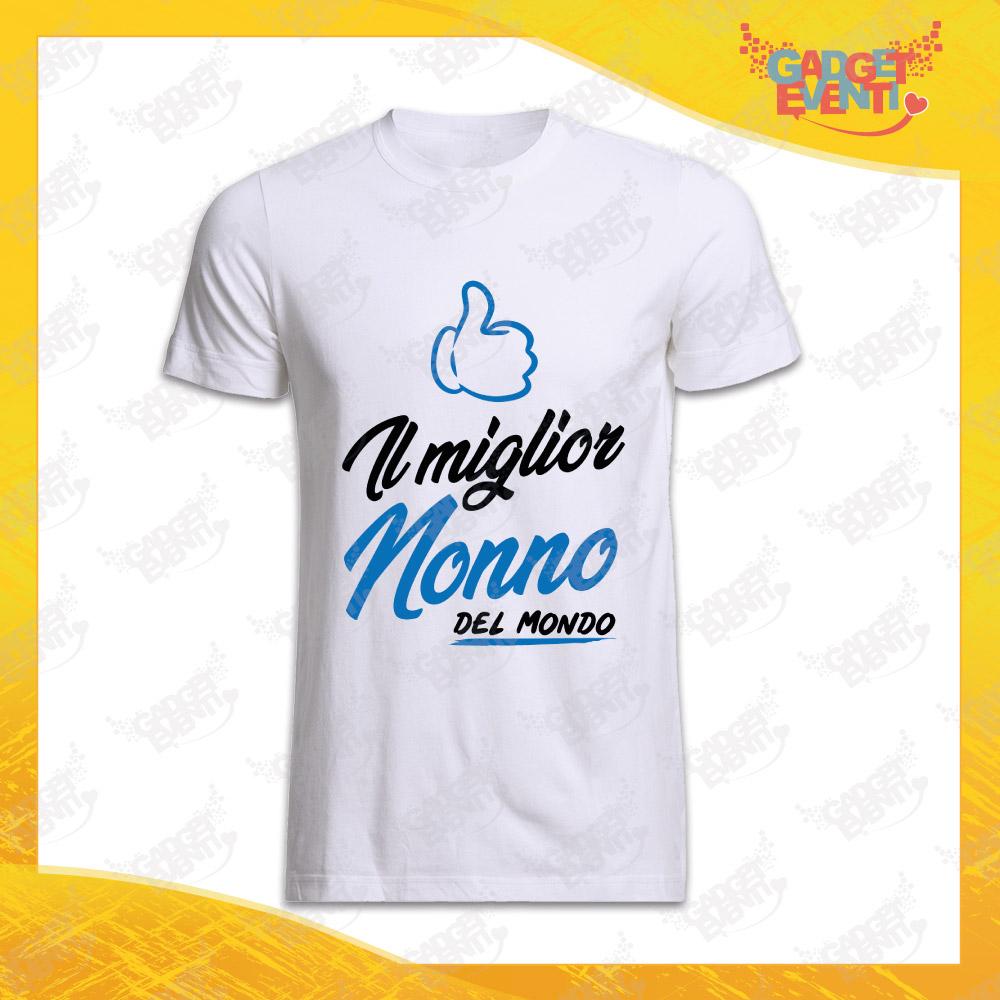 """Maglietta Uomo Bianca """"Miglior Nonno del Mondo"""" Idea Regalo Nonno T-Shirt Festa dei Nonni Gadget Eventi"""